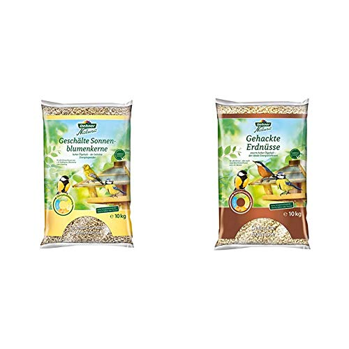 Dehner Natura Wildvogelfutter, geschälte Sonnenblumenkerne, 10 kg & Natura Wildvogelfutter, gehackte Erdnüsse, 10 kg