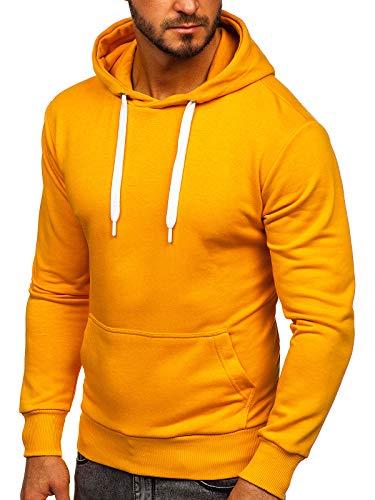 BOLF Herren Kapuzenpullover Sweatjacke Hoodie Sweatshirt mit Kapuze Reißverschluss Farbvarianten Kapuzenpulli Freizeit Training Gym Fitness Unisex 1004 Camel L [1A1]