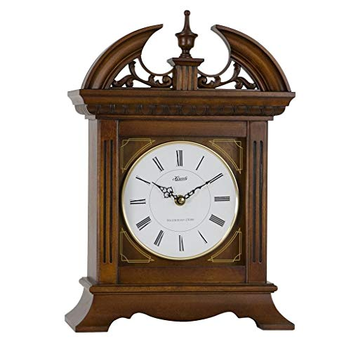 QWIRLY Store: Jackson Quartz Desk Clock #42011 by Hermle - Victorian Gothic Style Table or Mantel Carved Wood Clock with Chimes for Kitchen, Living Room and Office