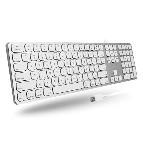 Macally Wired Mac Keyboard with Number Keypad and 2 USB Ports Hub - Compatible Apple Keyboard Wired for Mac, Pro, MacBook, Pro, Air Laptops (Silver Aluminum) MLUXKEYA