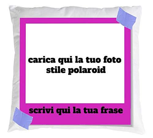 Cuscino Personalizzabile con Foto e Scritta Stile Polaroid (Fucsia 1)