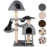 Happypet® Kratzbaum für Katzen 130 cm hoch dicke Säulen mit Sisal ca. 8,0 cm Höhle Liegemulde Hängematte Spielmaus Grau