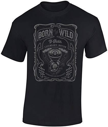 Camiseta: V-Twin Motor - Born to be Wild - Regalo Motero-s - T-Shirt Biker Hombre-s y Mujer-es - Motocicleta - Coche Auto Tuning - Moto - Gamer - Motociclismo - Mecánico - USA - Carrera (L)