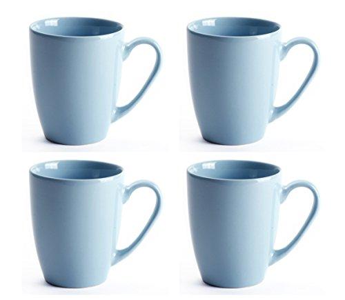 LEANDALE 12 OZ Ceramic Coffee Mug Tea Milk Cup Set of 4,Multi Solid Colour (Blue)
