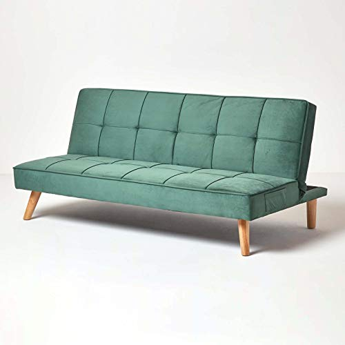 Homescapes Velvet Sofa Bed Dark Green 3 Seater Sofa Click Clack Bed Sleeper Retro Range 'Bower' Bed Settee on Wooden Legs for Study Guest and Living Room