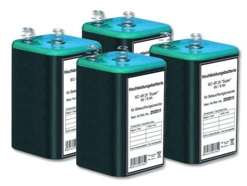 Blockbatterie 6 V- / 9 Ah IEC 4R25 - 4 Stück