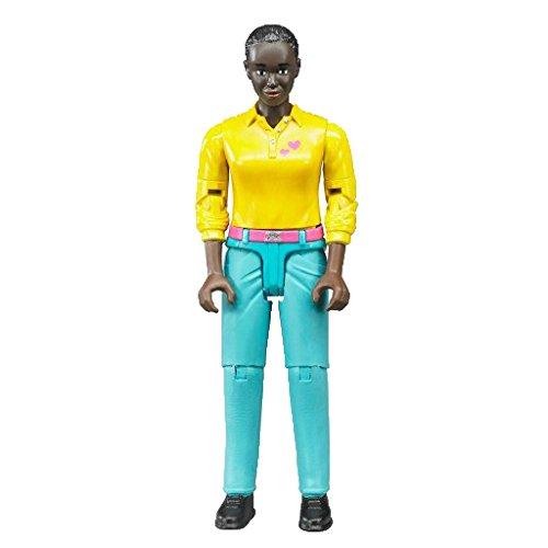 bruder 60404 Minifigur-bworld Frau mit dunklem Hauttyp und türkiser Hose