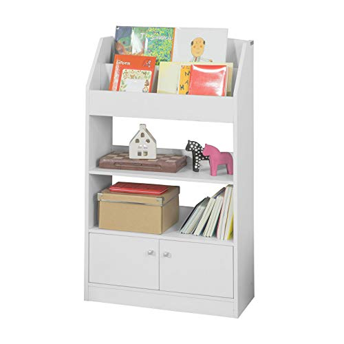 SoBuy Libreria montessoriana per Bambini Portariviste Mobiletto cameretta Bambini, con 2 Ante, Bianco, KMB11-W
