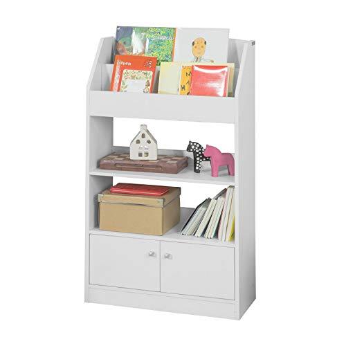 SoBuy KMB11-W Kinderregal Bücherregal Standregal für Kinder Bücherschrank mit 2 Ablagen, 2 Ablagefächern und 2 Türen weiß BHT ca.: 60x107x24cm
