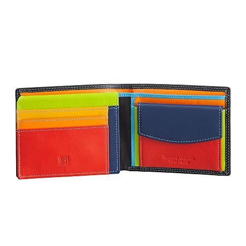 DUDU Portafoglio multicolore in pelle classico da uomo RFID firmato Nero