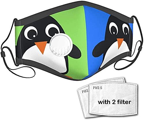 YRUI Pingino de color unisex al aire libre de tela de polvo mscara bucal reutilizable pasamontaas con una vlvula con 2 filtros