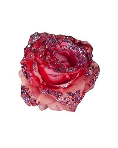 Horror-Shop Scintillant Rose Décoration avec clip rose