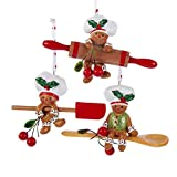 Kurt Adler Gingerbread Chefs Rolling Pin Spoon Spatula Christmas Holiday Ornaments Set of 3