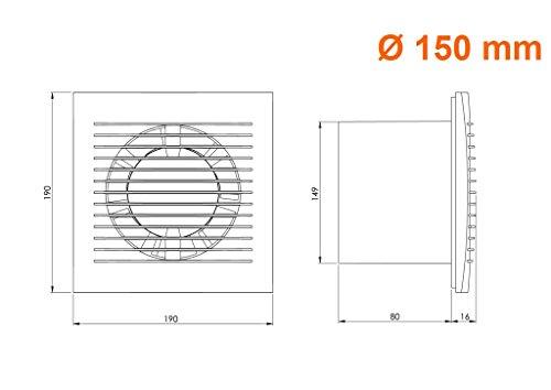 Ø 150mm Wandventilator Lüfter Abluft Kabel Schalter Ventilator Küche WC Bad 2