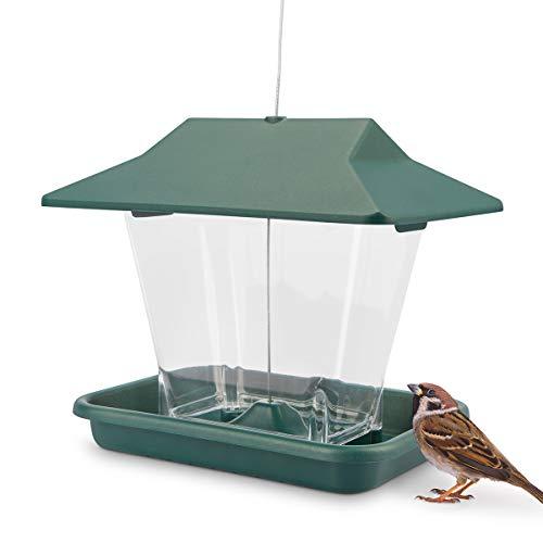WILDLIFE FRIEND | Vogelhaus zum Aufhängen – Futterschale für Vögel mit Anflugplätzen, Futterspender, Futterstation zur ganzjährigen Wildvögel Fütterung