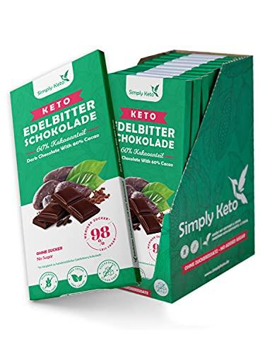 Simply Keto Low Carb Chocolate con 60% di cacao - Cioccolato fondente senza zucchero - Dolcificato con eritritolo-stevia - Solo 4g di carboidrati netti per 100g