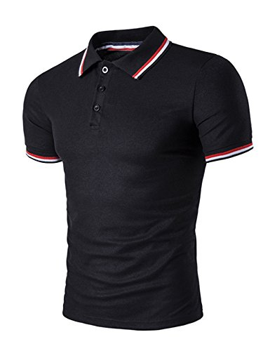 Legou Homme Polos T-Shirt de Sport pour Golf Noir X-Large
