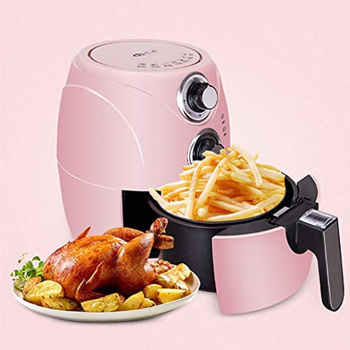 ZMIN 2.6 Quart Air Fryer Household Oil-Free,Electric Fryer Automatic Multifunctional Fries Machine Roast,Dehydrate & Bake Temperature Control Timer Pink