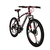 Outroad Mountain Bike 26-inch Wheel 21 Speed 3 Spoke Double Disc Brake Bicycle Suspension Fork Rear Anti-Slip Bike for Adult or Teens (Red)