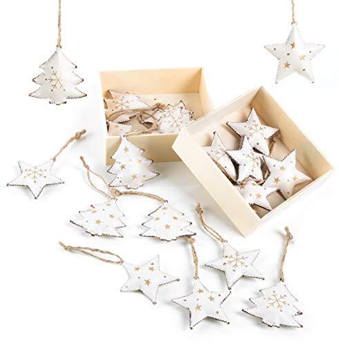 Logbuch-Verlag 20 colgantes vintage de metal con forma de estrella y árbol. Colgantes de Navidad para regalos de clientes, 5 cm, color beige y dorado