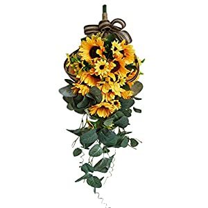 VEUSBJ 19in Artificial Sunflower Swag,Wall Hanging Sunflower Teardrop Swag with Yellow Flower and Green Leaves Silk Spring Garland for Home Wedding Decor