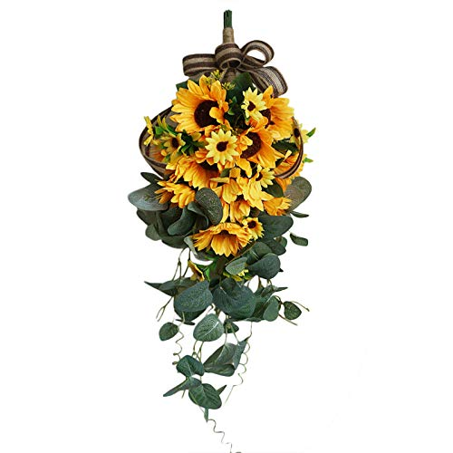 INFILM Artificial Sunflower Bouquet Swag,18.9in Fake Sunflowers with Bow,Floral Swag Artificial Flowers Eucalyptus Wreath Handmade Garland for Mirror Home Wedding Party Door Tabletop Decoration