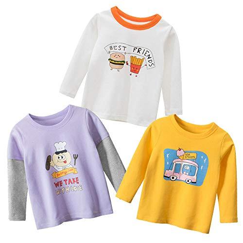 3 piezas de camiseta de manga larga de algodón para niña de 1 a 7 años 3 carritos. 110 cm