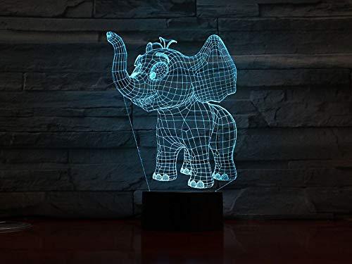 Animal Elephant Kit Elephant Night Light 3D LED USB Lámpara de mesa niños regalo de cumpleaños decoración de la habitación junto a la cama