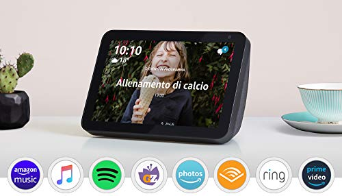 """Echo Show 8, Ricondizionato Certificato, Tessuto antracite – Schermo intelligente HD da 8"""" con Alexa"""