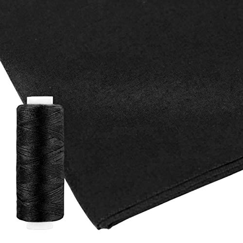 100% Pure Cotton Fabric by The Yard for Sewing, Embroidery, Quilting, and DIY Arts and Crafts, Premium Cotton Black Cloth with Plush Thickness, Includes Sew Thread