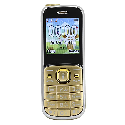 ASHATA Teléfono Celular 2G Desbloqueado, Modo de Espera prolongado, fácil de Usar, Ranura para Tarjeta SIM Dual con Linterna LED, teléfono móvil pequeño para Personas Mayores y niños(Oro)
