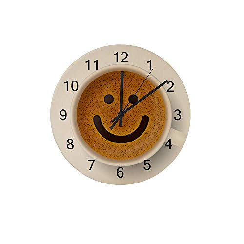 Hapuxt Wall Clocks Round Wooden No Ticking Sound Quartz Quiet Movement AA Battery Operated Coffee Cup Froth Smiley Face Home Kitchen Decor 12 Inch