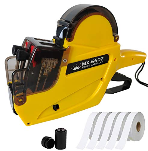 HC Kenshin MX6602 Label Maker Machine,2 Line 20 Bit Price Tag Gun, with 2500 Sticker Labels and 1 Ink Wheel, Label Maker Pricing Gun,Kit Numerical Tag Gun for Office, Retail Shop(Yellow)
