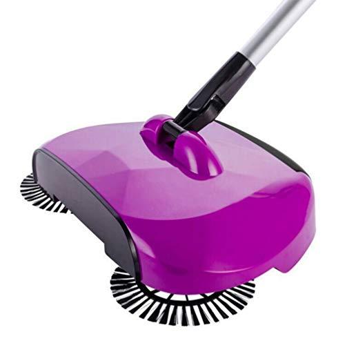 Vosarea Push Sweeper Boden Teppich Kehrmaschine Manuelle Kehrmaschine Reiniger 360 ° Drehbare Bodenreinigung Mopp für zu Hause (Lila)