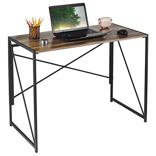 ANJI DEPOT Folding Computer Desk, Foldable Small Desk for Home Study/Office (Brown)