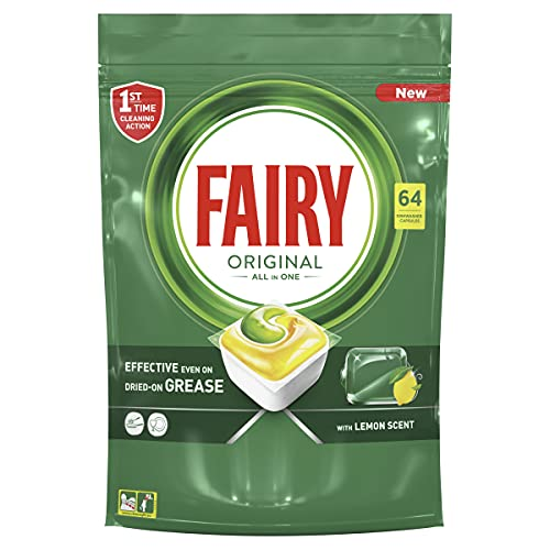 Fairy All-In-One Dishwasher Tablets, 64 Tablets