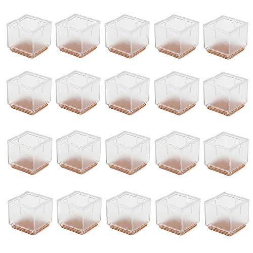 Cusfull 20pcs Transparente de silicona pata de la silla de ratón Tabla pata de la silla Caps Pies cubiertas de los muebles de madera de protección de pisos (Cuadrado / 3-3.5cm)