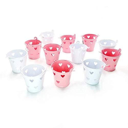 JZK 12 x Mini cubos de metal balde para Invitados boda bautizo cumpleaños navidad decoracion mesas llene bolsa de caramelos caja confeti dulces caramelos