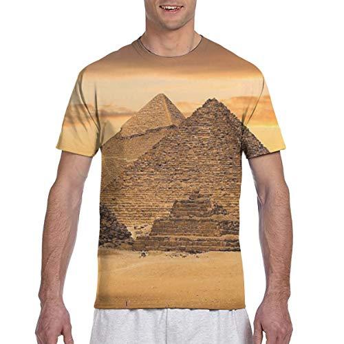 Zhgrong Men Tee Shirts Egypt Pyramids1 Short Sleeve T-Shirts Crew Neck T Shirt