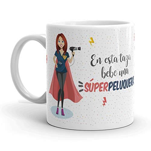 Kembilove Taza de Café Peluquera – En Esta Taza Bebe una Súper Peluquera – Taza de Desayuno para la Oficina – Taza de Café y Té para Profesionales – Taza de Cerámica Impresa – Tazas de 350 ml