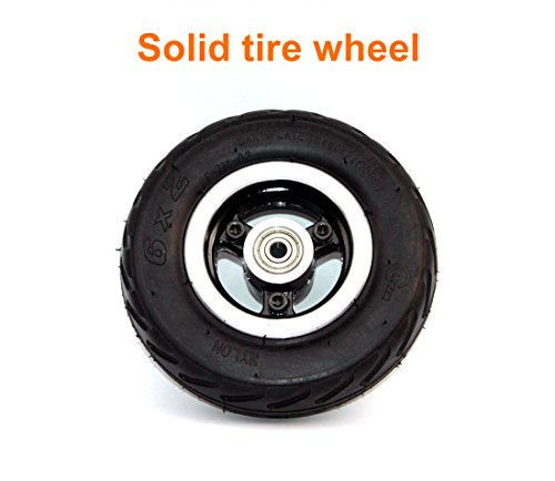 Rueda 6x2 de la rueda de la vespa de 6 pulgadas con neumático del aire o eje sólido del metal del neumático con 608 transportes Rueda 8m m del carro de la carretilla del (solid wheel)