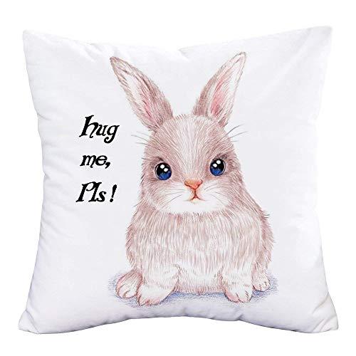 YANGYULU Hopyeer Hug Me Pls Kissenbezug mit süßem Zitat und Wörtern, niedliches Kaninchen-Kunstgemälde, super weicher Kissenbezug für Zuhause, Sofa, Stuhl, quadratisch, 45,7 x 45,7 cm