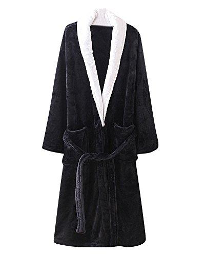 Albornoz Bata de Baño Sauna para Mujeres y Hombres Mangas Largas Kimono Vestidos Robe Negro S
