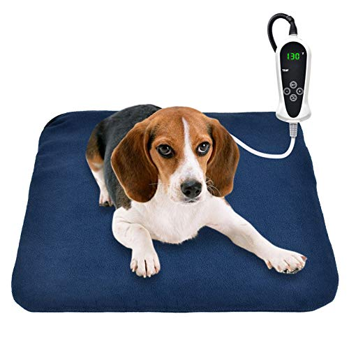 "RIOGOO Pet Heating Pad, Electric Heating Pad for Dogs and Cats Indoor Warming Mat with Auto Power Off (M:18"" x 18"")"