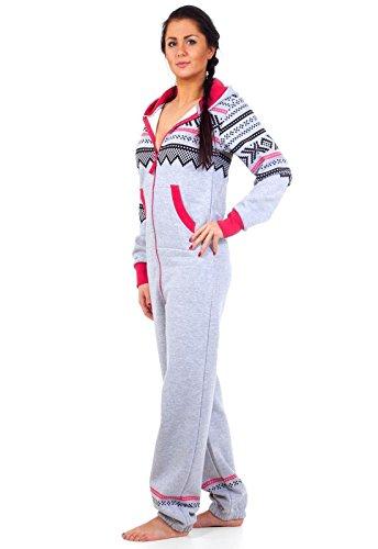 Loomiloo® Jumpsuit Onesie Overall als Freizeitanzug Hausanzug Trainingsanzug Pyjama für Damen und Herren (M/L, Hellgrau) - 3