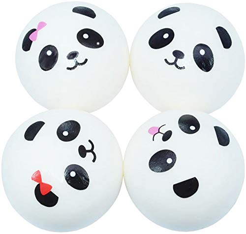 ROCHU Squishies Panda Bun,Super Soft Chubby Panda Bread Bun Squishy Toys Cell Phone Chains Keychains (Set of 4, Designs Randomly Match)