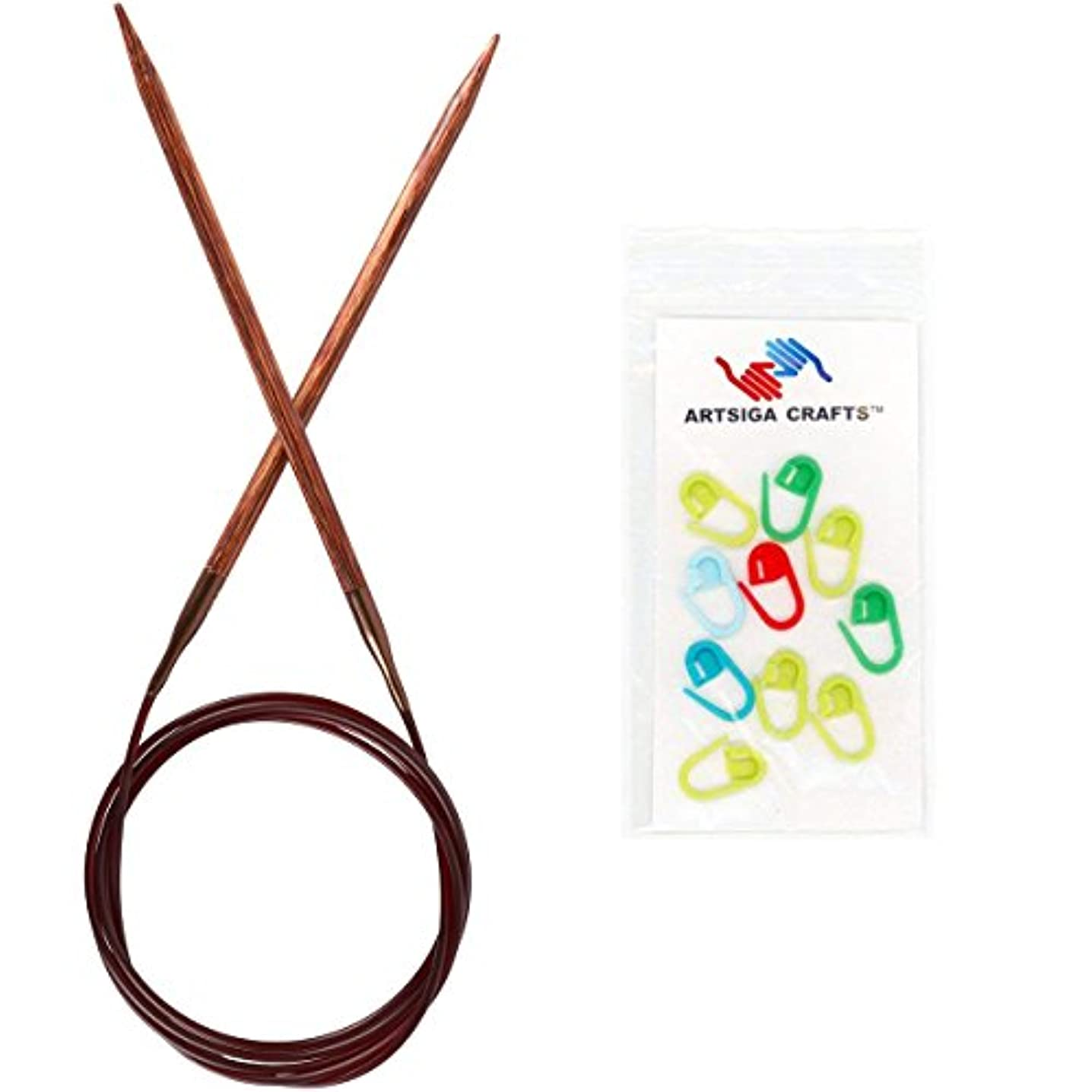Knitter's Pride Knitting Needles Ginger Fixed Circular 32 inch Size US 0 (2mm) Bundle with 10 Artsiga Crafts Stitch Markers