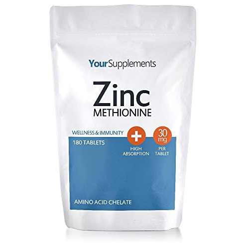 Your Supplements – Zinc Methionine Tablets – 30mg Elemental Zinc - 180 Tablets