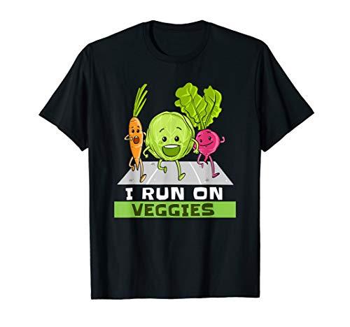 I Run On Veggies T-Shirt Funny Vegan Vegetarian Runner Gift