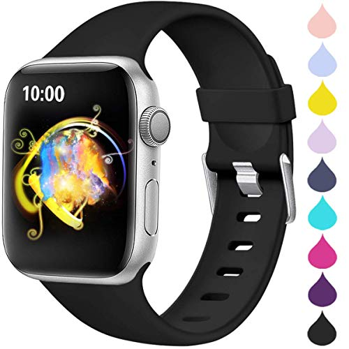 Haveda Sport Compatible for Apple Watch Band 40mm Series 4 Series 5, Waterproof iwatch Bands 38mm Womens Bracelet for Apple Watch iwatch Series 3, Series 2/1 Men, Black 38mm/40mm S/M